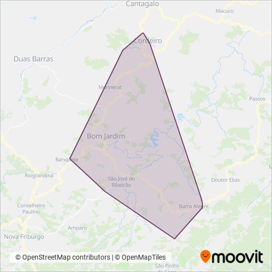 Mapa da área de cobertura da Expresso Farinha
