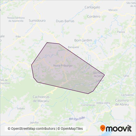 Mapa da área de cobertura da FAOL - Friburgo Auto Ônibus Ltda.