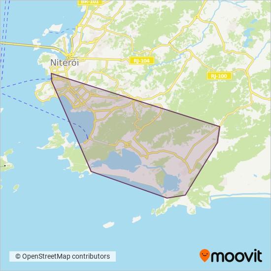 Mapa da área de cobertura da TransOceânica