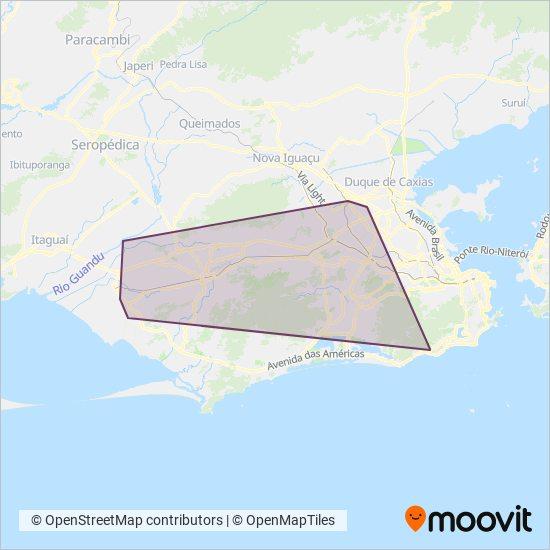 Mapa da área de cobertura da STPL - Sistema de Transporte Público Local (Vans)