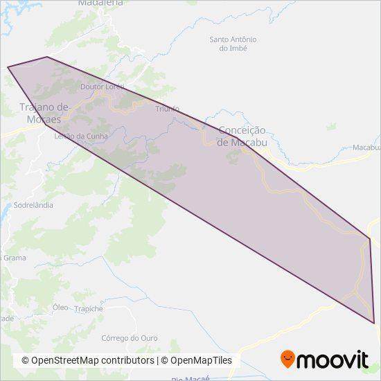 Mapa da área de cobertura da Transportadora Macabu
