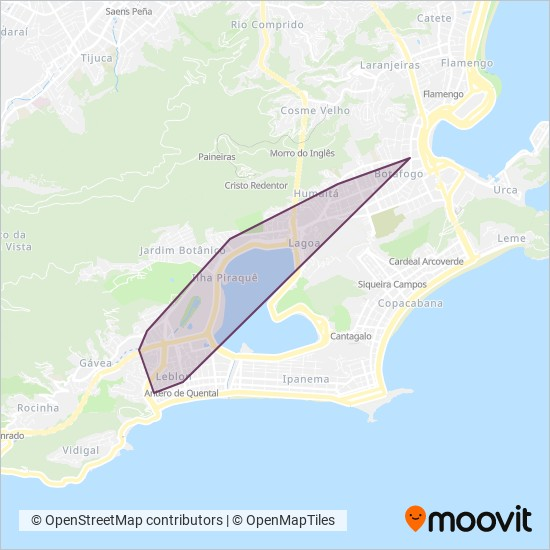 Mapa da área de cobertura da MetrôRio (Metrô na Superfície)