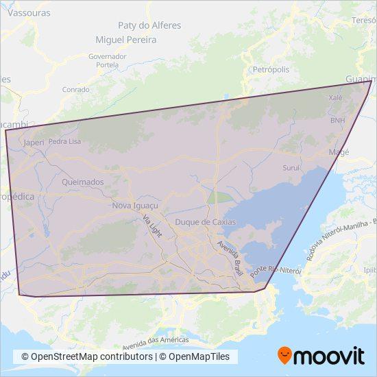 Mapa da área de cobertura da SuperVia