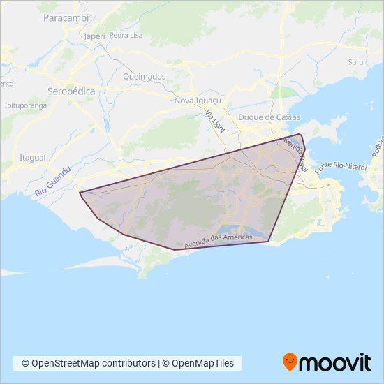 Mapa da área de cobertura da BRT Rio