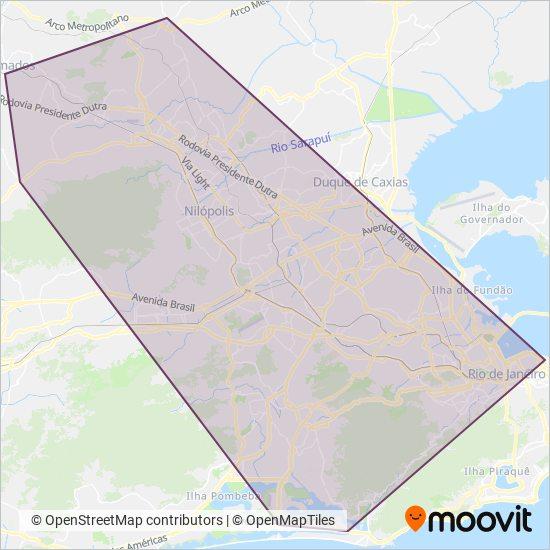 Mapa da área de cobertura da Transportadora Tinguá