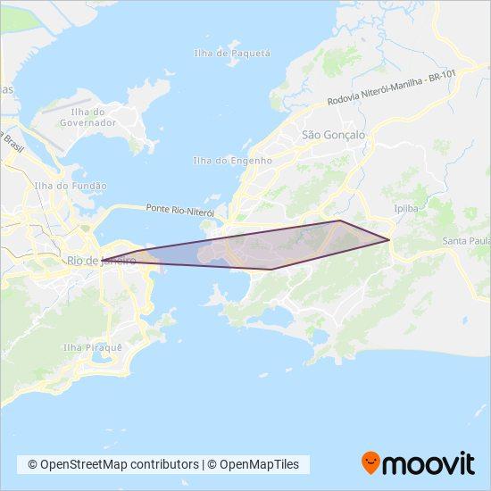 Mapa da área de cobertura da Viação Pendotiba