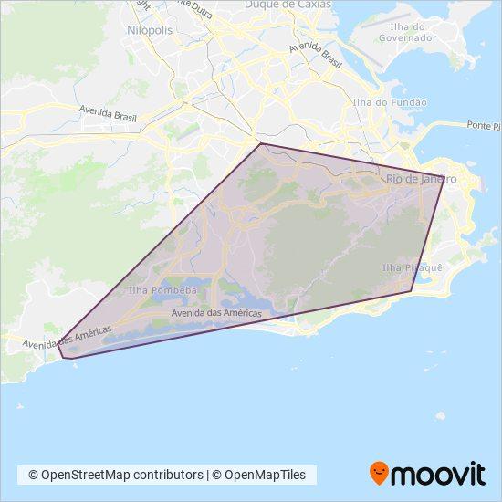 Mapa da área de cobertura da Consórcio TRANSCARIOCA