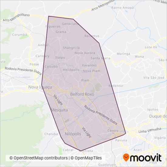 Mapa da área de cobertura da Auto Viação Vera Cruz