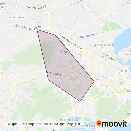 Mapa da área de cobertura da Viação Nossa Senhora da Penha