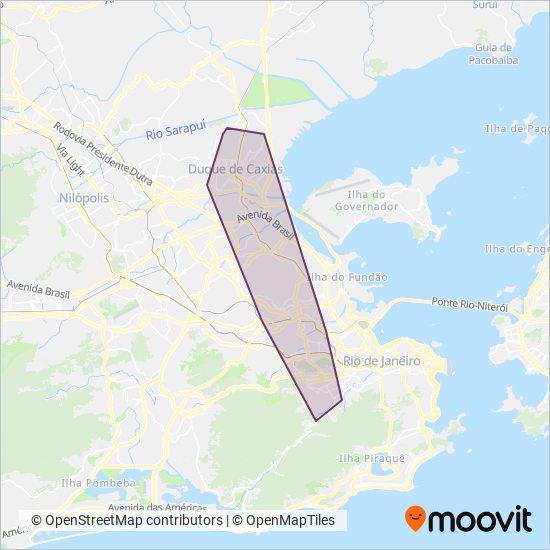 Mapa da área de cobertura da Transportes Fabio's