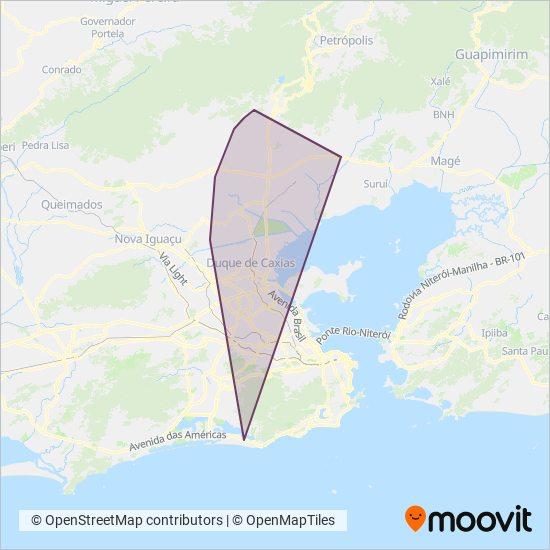 Mapa da área de cobertura da Transportes Santo Antônio