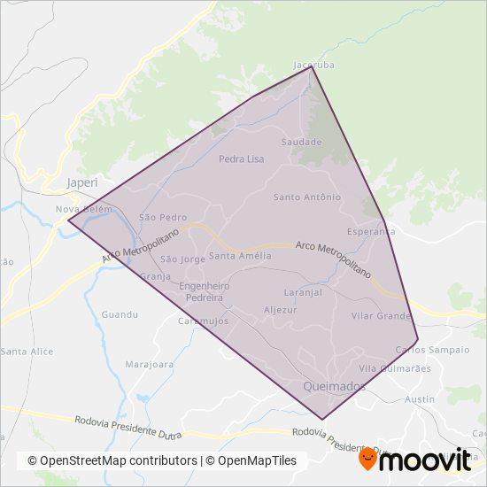 Mapa da área de cobertura da Fazeni Transportes e Turismo