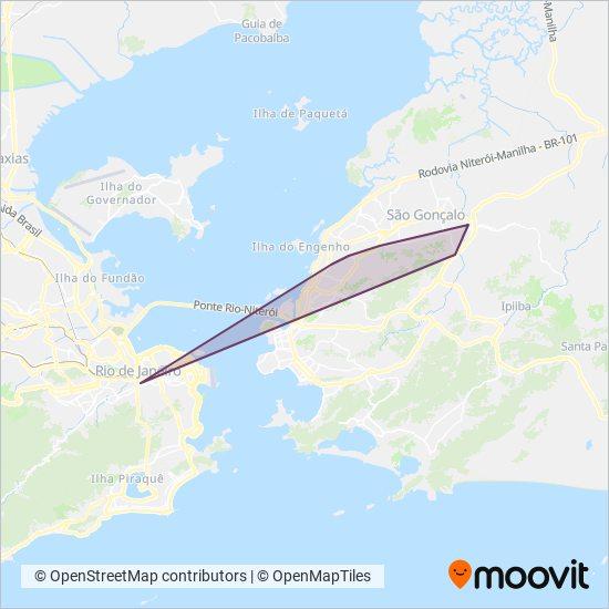 Mapa da área de cobertura da Viação Galo Branco
