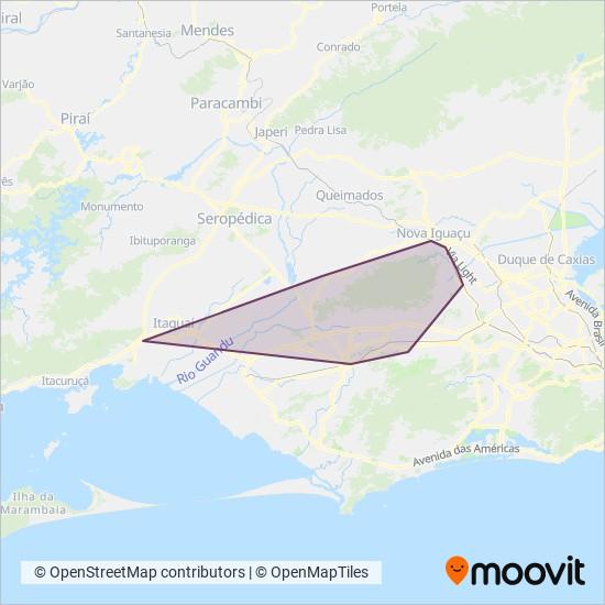 Mapa da área de cobertura da Viação Ponte Coberta