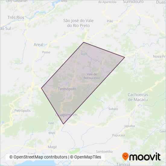 Mapa da área de cobertura da Viação Teresópolis