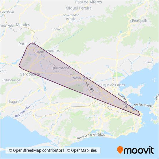 Mapa da área de cobertura da Transportes Blanco