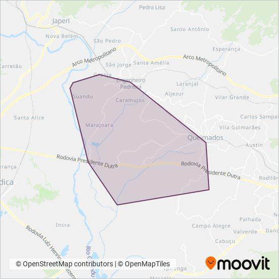 Mapa da área de cobertura da Gardel Turismo