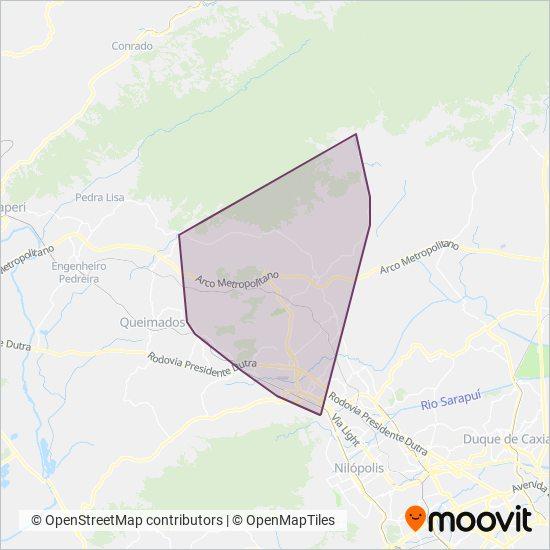 Mapa da área de cobertura da Consórcio RESERVA DE TINGUÁ