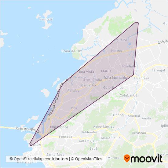 Mapa da área de cobertura da Auto Viação ABC