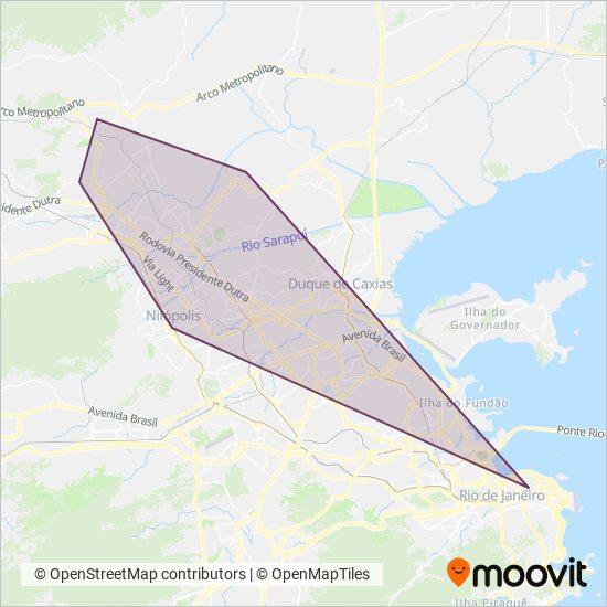 Mapa da área de cobertura da Viação São José
