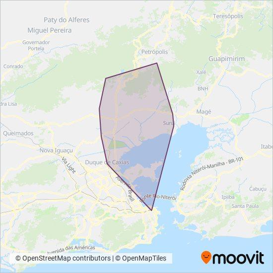 Mapa da área de cobertura da TREL - Transturismo Rei Ltda.