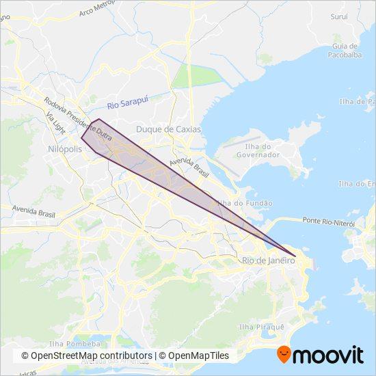Mapa da área de cobertura da Transporte Mageli