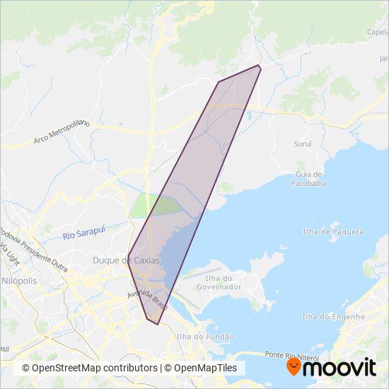 Mapa da área de cobertura da Transporte e Turismo Machado