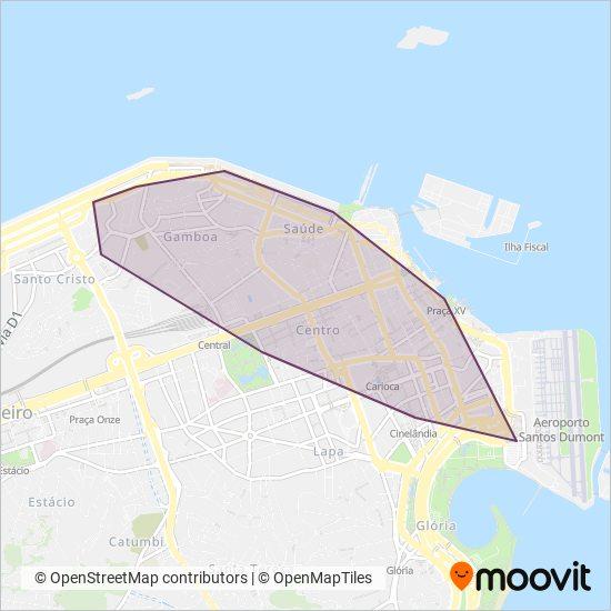 Mapa da área de cobertura da VLT Carioca