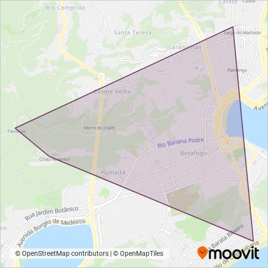 Mapa da área de cobertura da Paineiras Corcovado