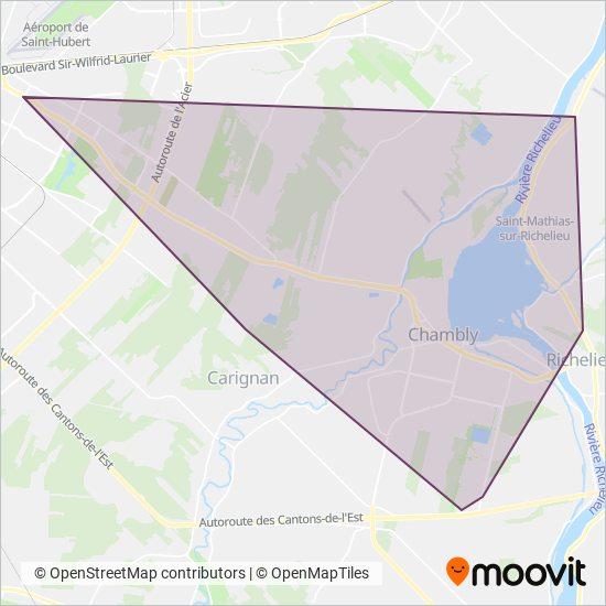 Carte de la zone de couverture de exo-Chambly-Richelieu-Carignan