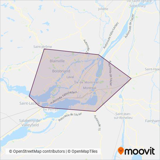 Carte de la zone de couverture de AMT