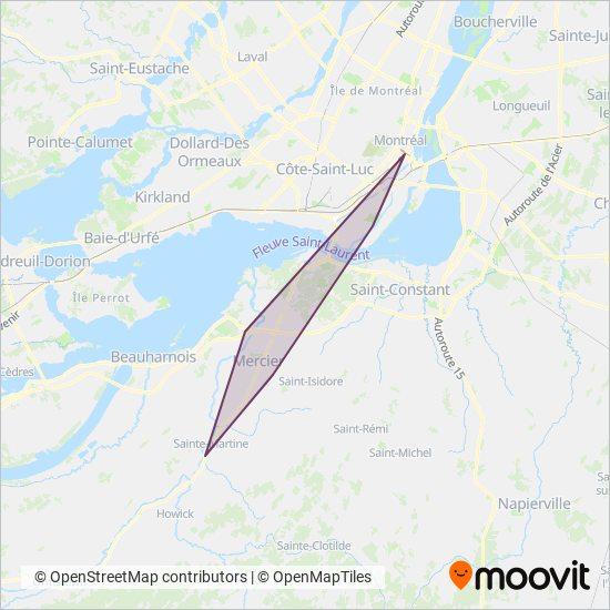Carte de la zone de couverture de exo-Haut-Saint-Laurent