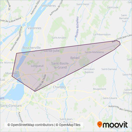 Carte de la zone de couverture de exo-Vallée du Richelieu