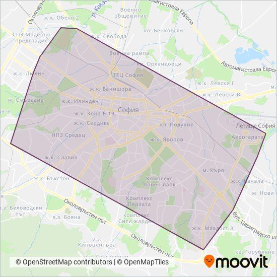 Карта на района на покритие на МЕТРОПОЛИТЕН