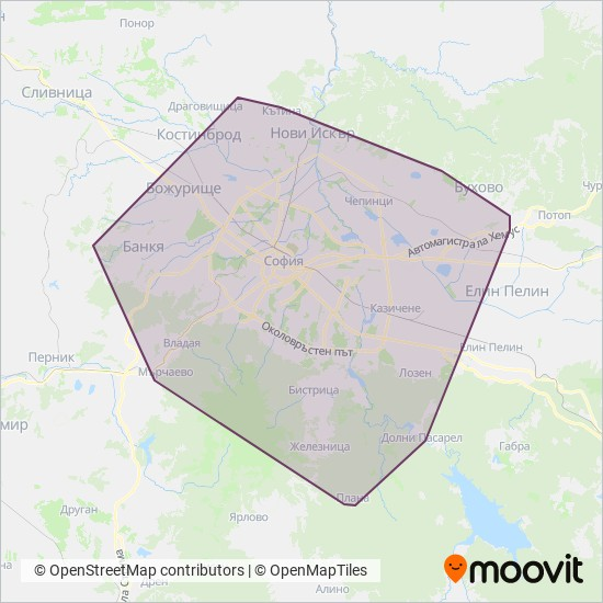 Карта на района на покритие на СТОЛИЧЕН  АВТОТРАНСПОРТ