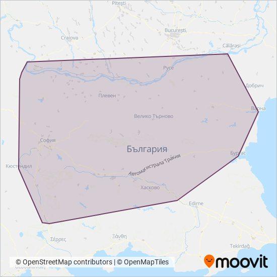 Карта на района на покритие на БДЖ - ПЪТНИЧЕСКИ ПРЕВОЗИ