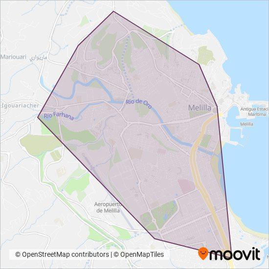 Mapa del área de cobertura de COA