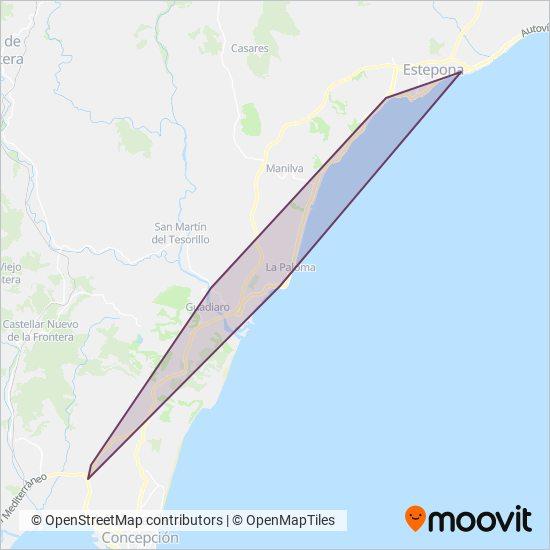 Mapa del área de cobertura de Portillo