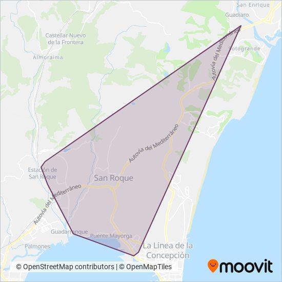 Mapa del área de cobertura de Urbanos de San Roque