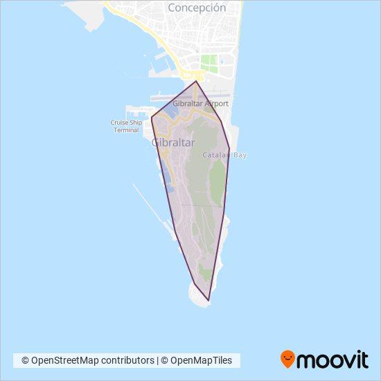Mapa del área de cobertura de Gibraltar Bus Company