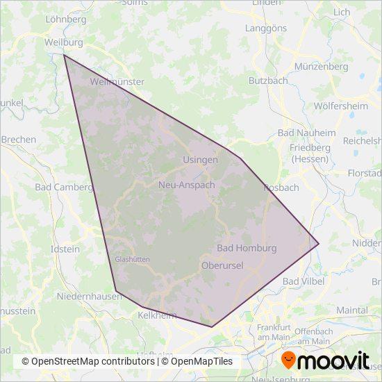 Hochtaunus kapsama alanı haritası