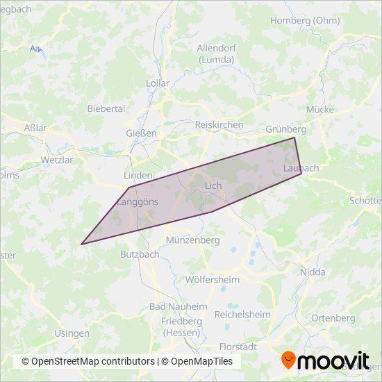 Gießen-Anruf-Linientaxi kapsama alanı haritası