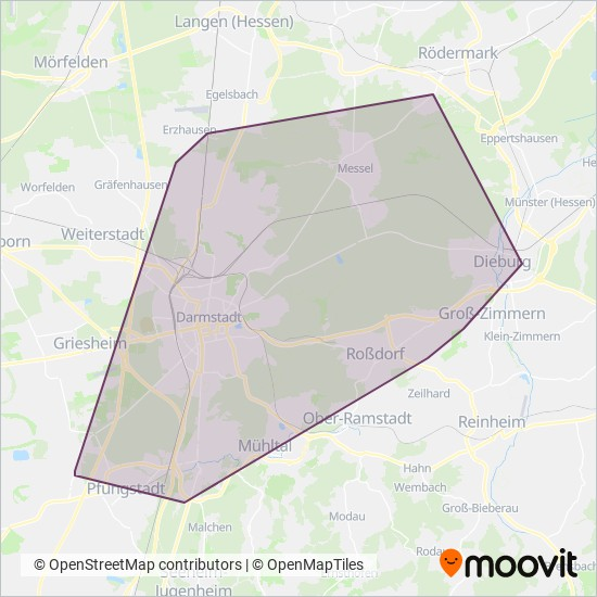 Stadt Darmstadt coverage area map