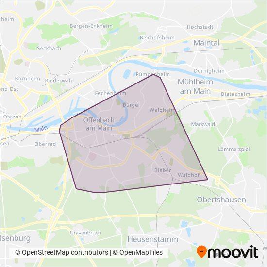 Stadt Offenbach kapsama alanı haritası