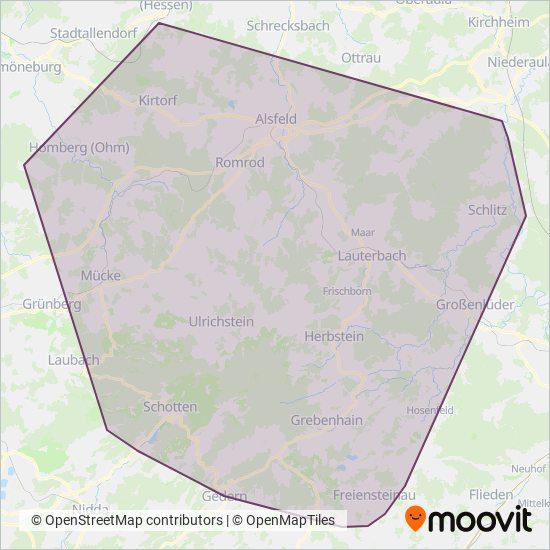 Vogelsberg kapsama alanı haritası