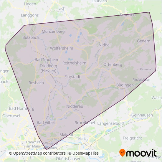 Wetterau kapsama alanı haritası