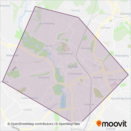 Mapa del área de cobertura de Fulda-Anruf-Sammeltaxi