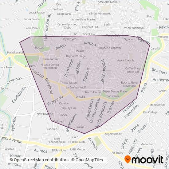 Μικρά Λεωφορεία Λευκωσίας (Nicosia's Mini Buses) kapsama alanı haritası
