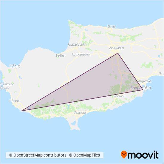 Kapnos Airport Shuttle kapsama alanı haritası