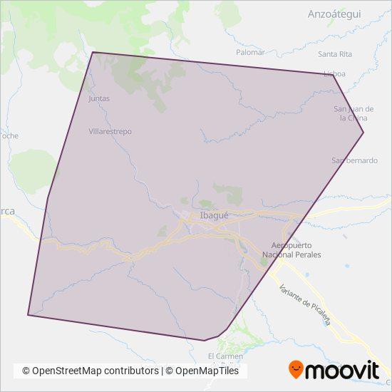 Mapa del área de cobertura de RUTAS VEREDALES
